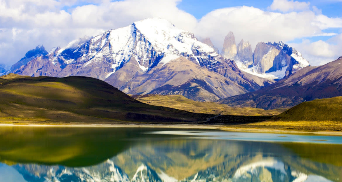 Torres del Paine mountains reflected in lake