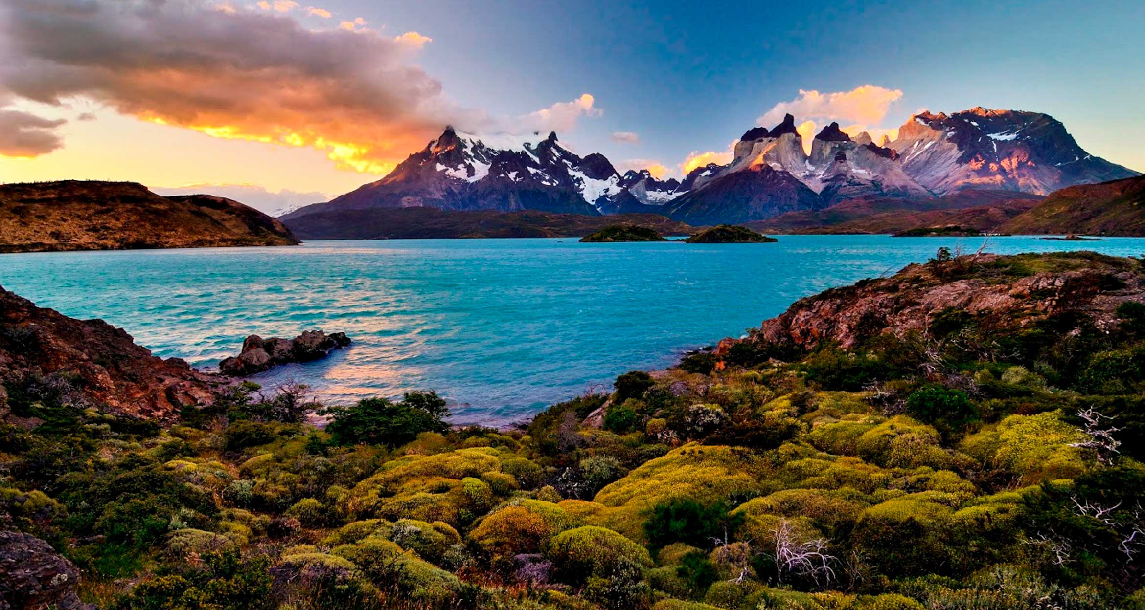 Patagonia mountains illuminated by sunset