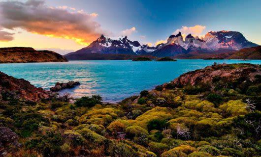 Patagonia mountains illuminated by sunset