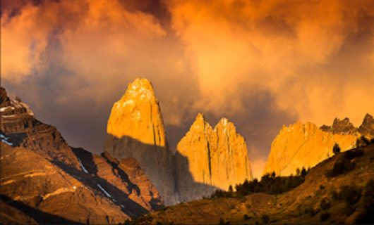 Sunset over Patagonia peaks