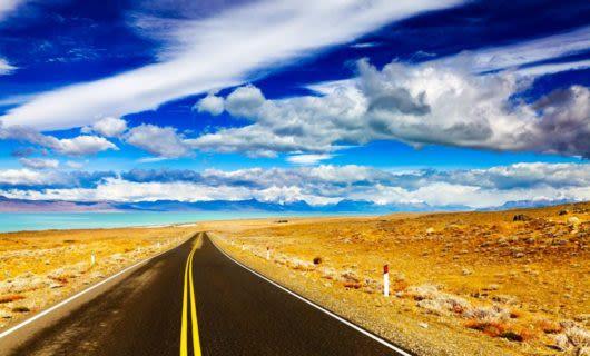 Patagonia road against blue sky