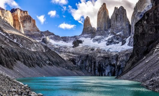 View across lake of Towers in Patagonia region of Chile