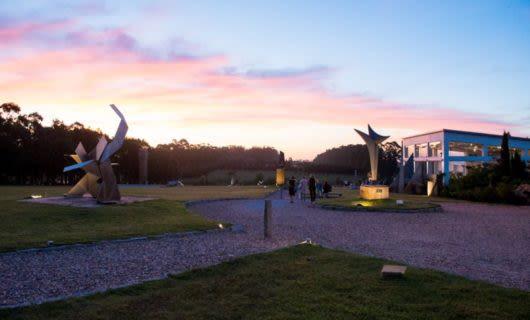 Paths past outdoor sculptures