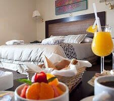hotel room and breakfast