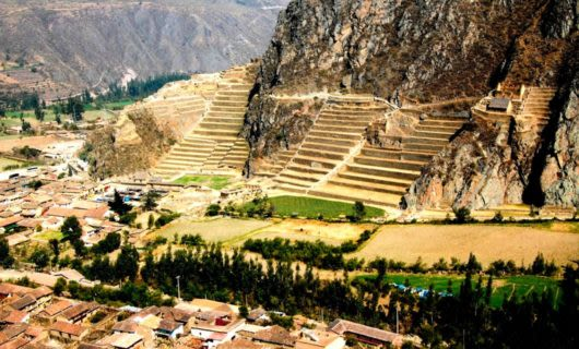 Aerial view of fields in Peru