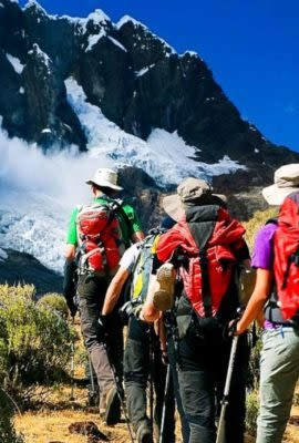 Group of hikers in Peru mountains