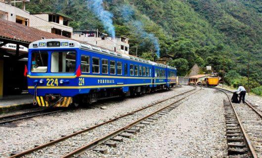 Blue PeruRail Lake Titicaca train