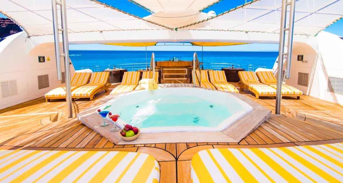 Sun deck of Petrel cruise ship