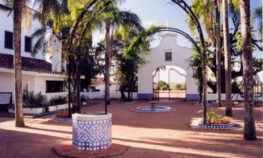 Leafy arches in courtyard in Uruguay