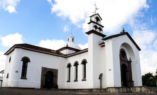White church in Popayan, Colombia
