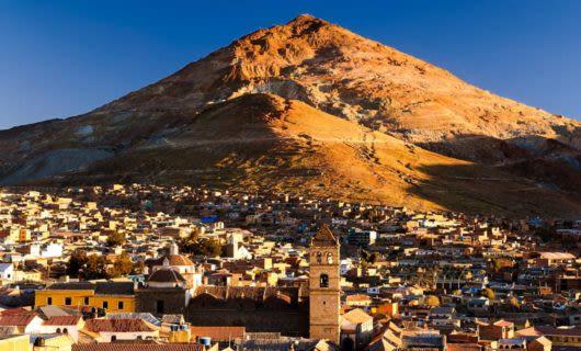 Mountain rises behind town of Potosi, Bolivia