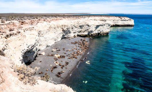 Rocky coast and beach of Puerto Madryn