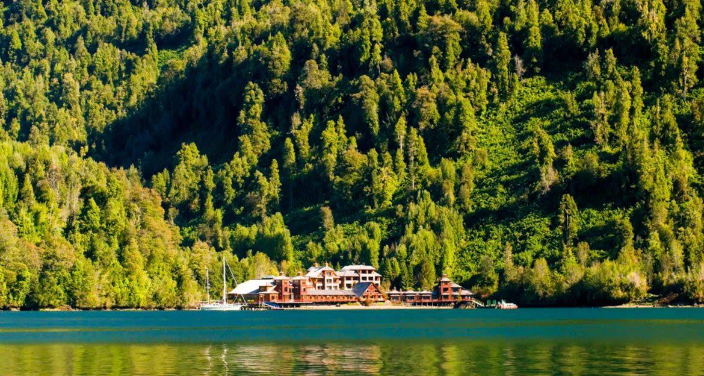 Puyuhuapi Lodge and beach viewed across lake