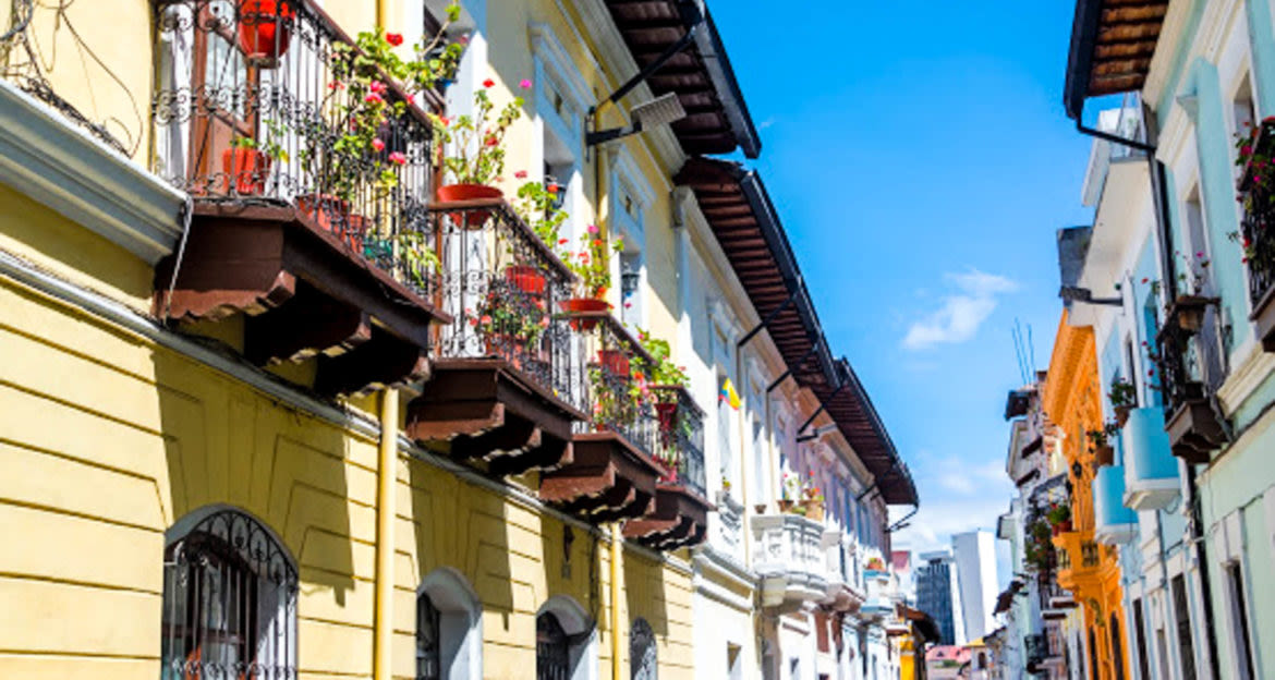 Balconies in Quito decorated by flowers