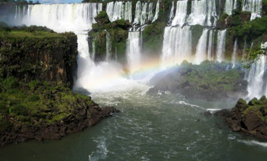 Rainbow at base of Iguasu Falls