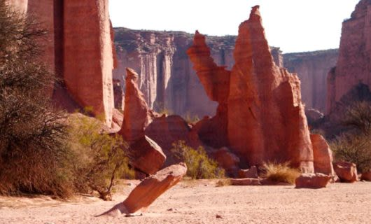 Red rock spires in canyon