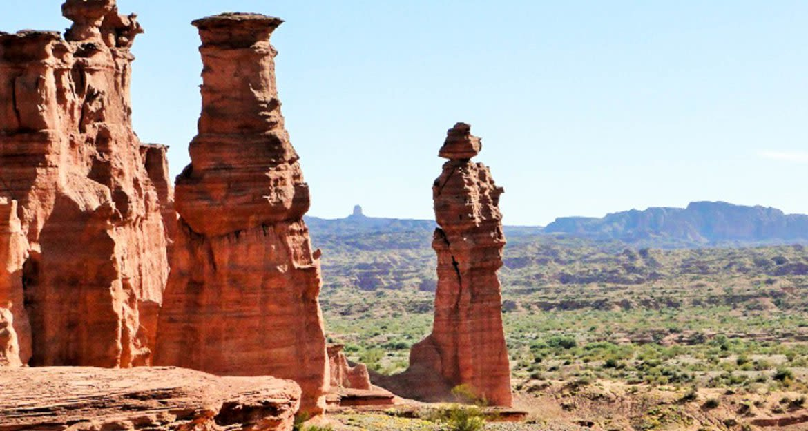 Red rock spires in South America