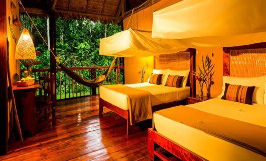 Bedroom in suite of Refugio Amazonas Lodge