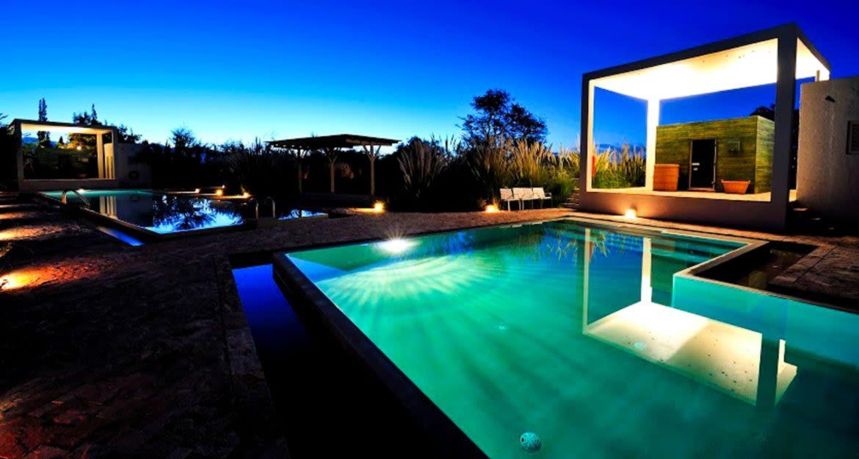 Outdoor pool of Atacama resort at night