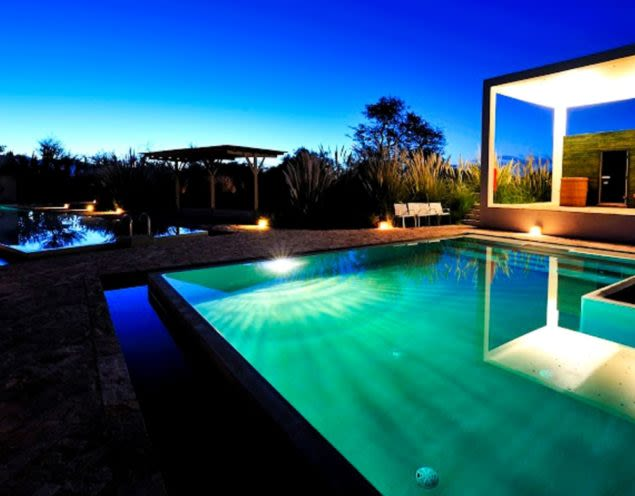 Outdoor pool of Atacama resort at night