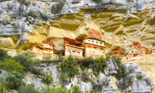 Colorful cliffside tomb in Peru