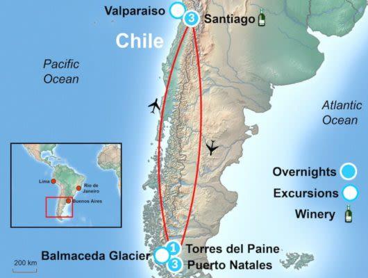 Santiago and Torres Tour Map