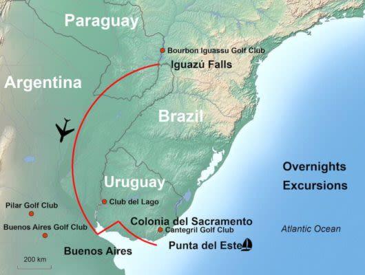 Tour Map South America Golf