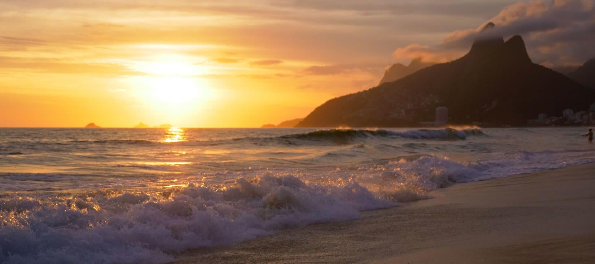 Sunset over the ocean near Rio de Janeiro