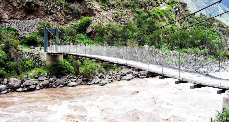 Suspension bridge trail over river