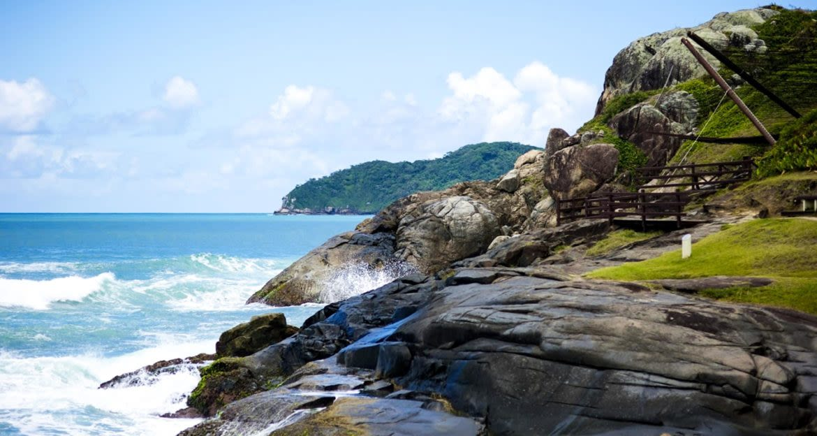 Rocky shoreline of Brazil beach