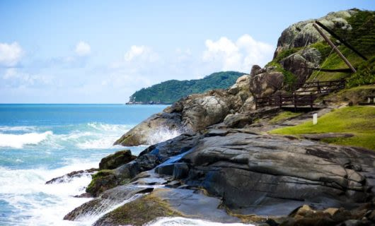 Rocky shoreline of Brazil beach