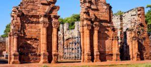 Ruins of the entrance of the Jesuit mission of San Ignacio Mini in Misiones Argentina