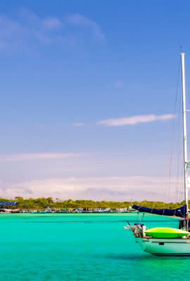 Galapagos Sailboat on bright blue waters