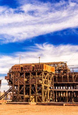 abandoned salt refinery in desert