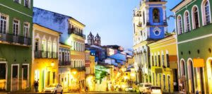 Street in Salvador da Bahia at sunset