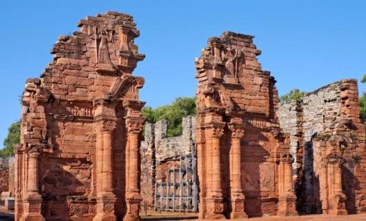 Main temple entrance of San Ignacio Missionary Ruins