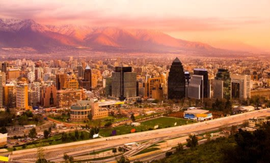 Evening sunset over Santiago Chile