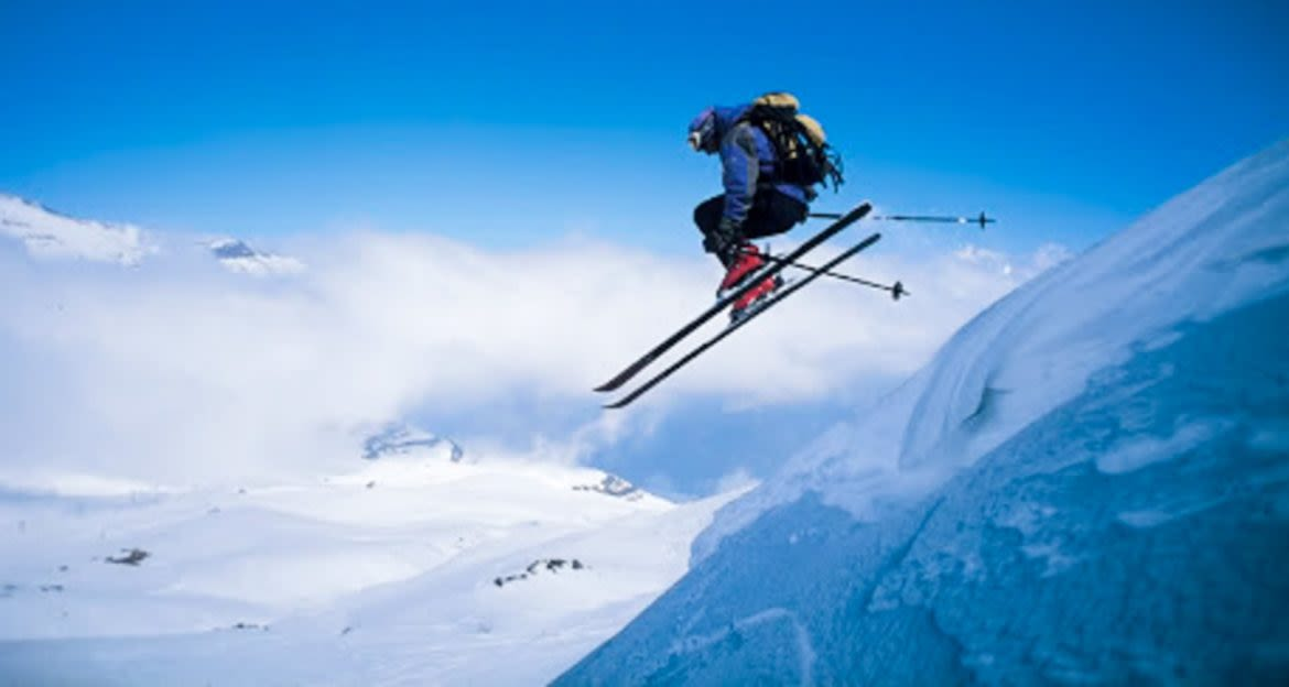 Skier in midair of jump