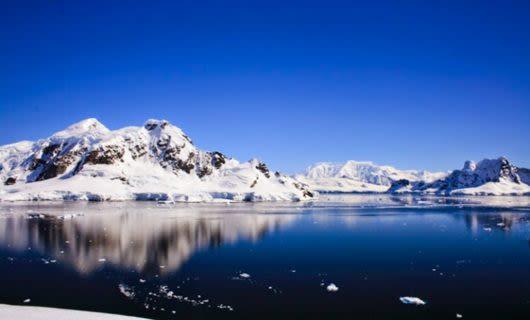 Snowy mountains in Antarctica ocean