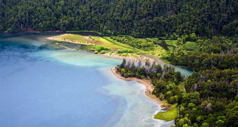 Aerial view of South America coastline