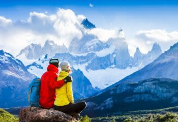 Couple honeymoons in South America mountains