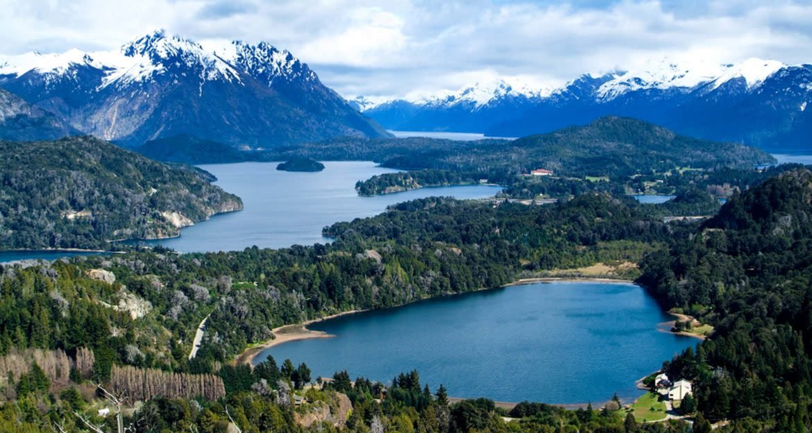 Aerial view of South America lakes