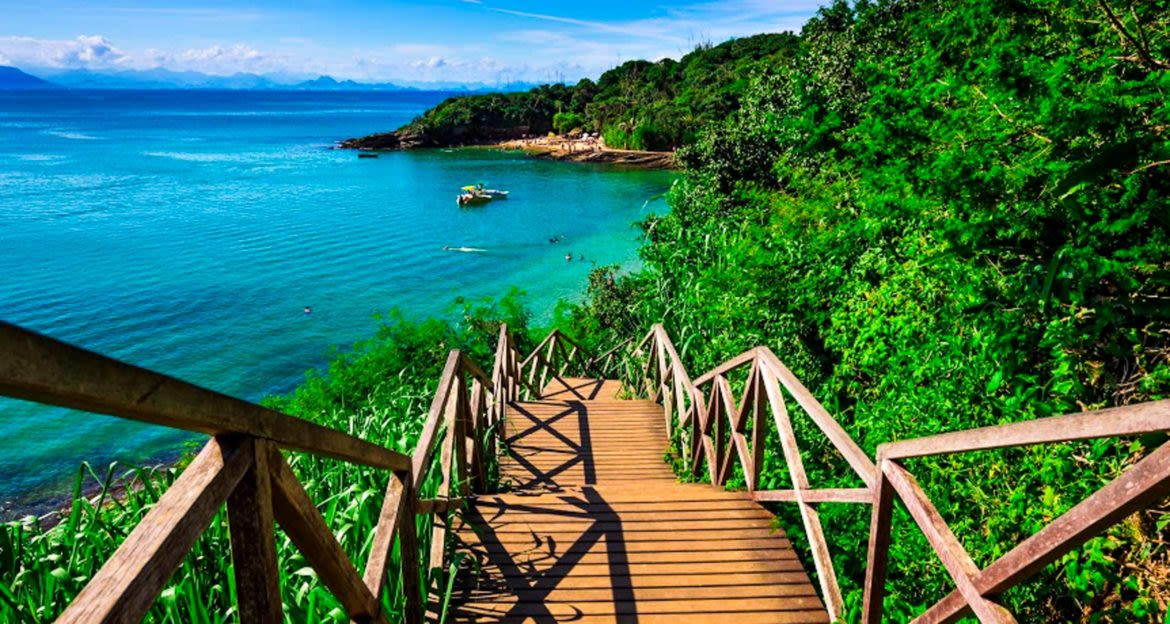 Stairs leading down to Brazil beach