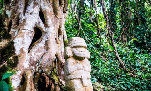 Statue sits in front of jungle tree