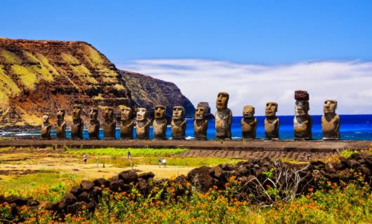Row of statues on coast of Easter Island