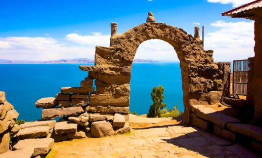 Stone archway looks out over ocean view