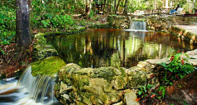 Waterfalls between stone pools