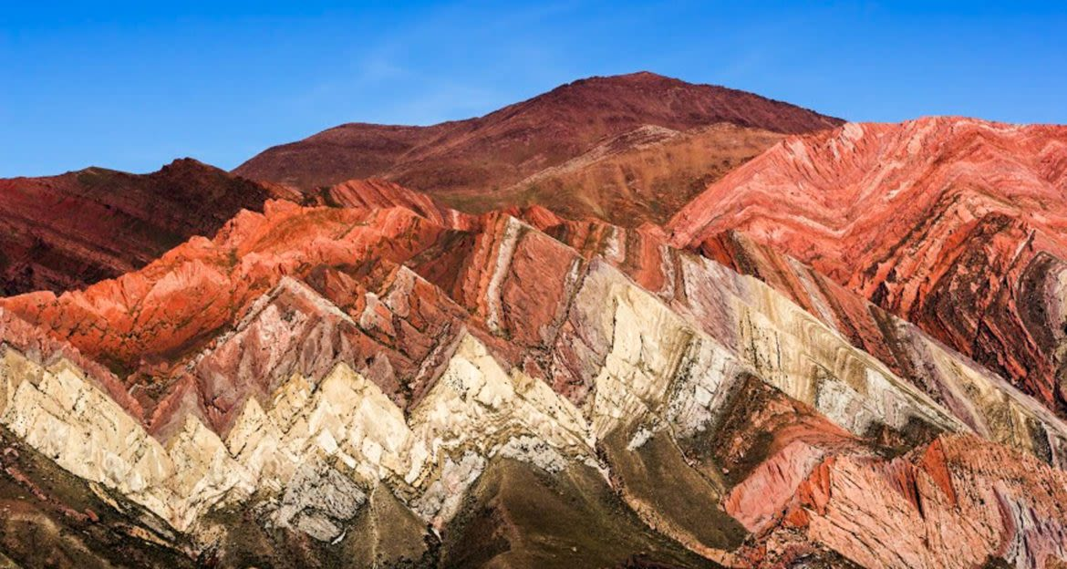 Striped red rock mountains