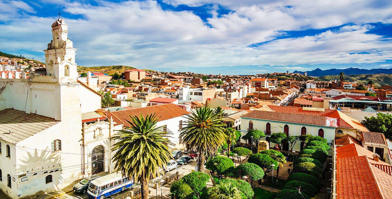 aerial view of sucre bolivia on a sunny day