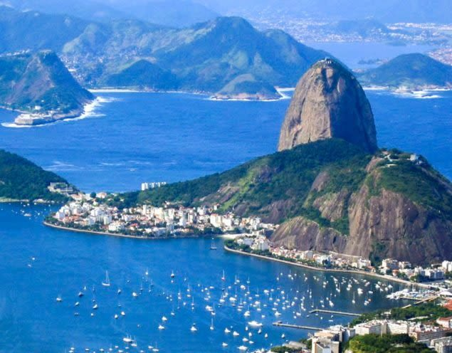 Aerial view of Sugarloaf Mountain in Brazil